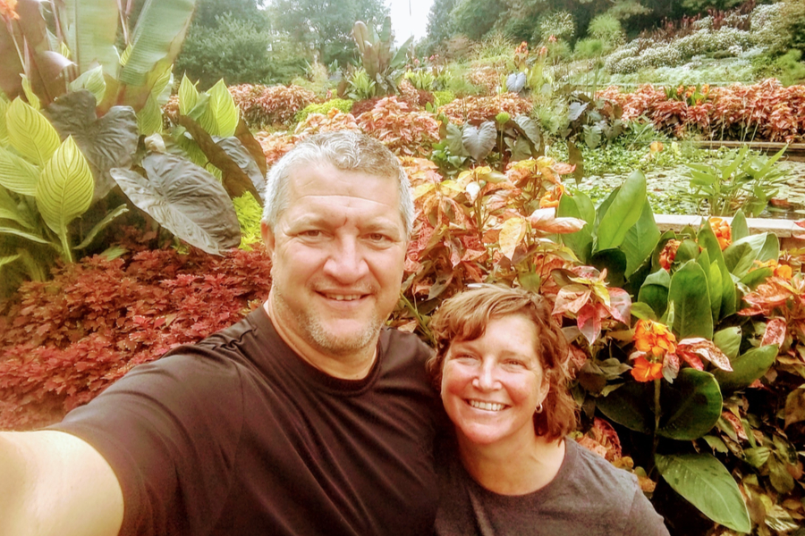 touring sunken gardens - jim and mary competti