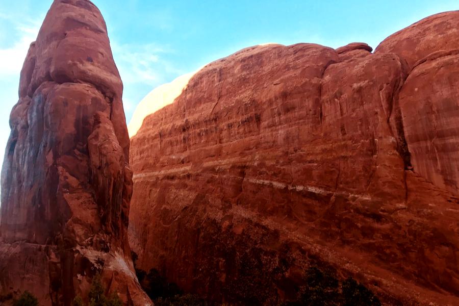 hiking through red rocks