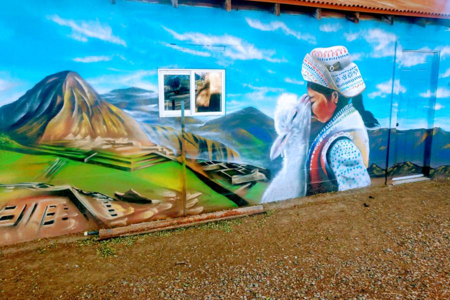 mural at alpaca farm