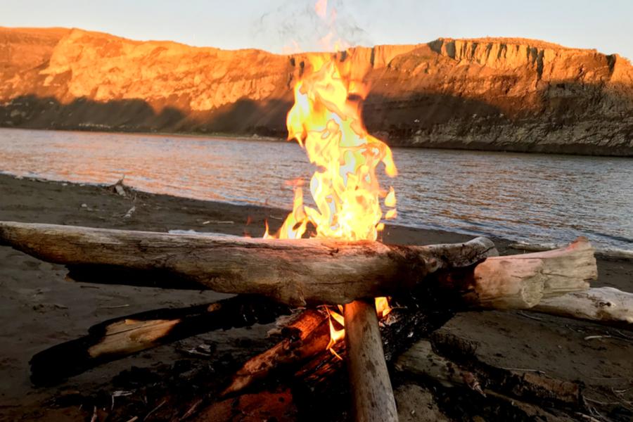 campfire at Yellowstone River