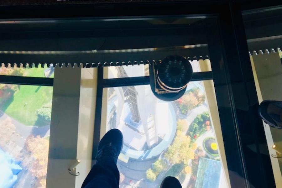 rotating glass floor