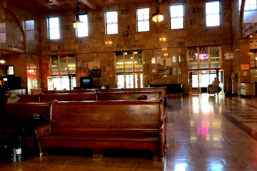 inside amtrak station