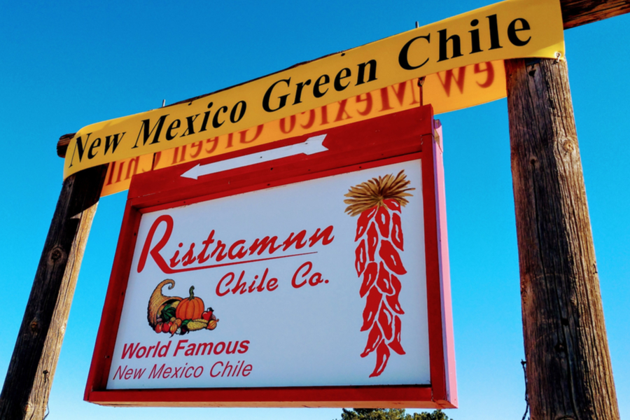 chile pepper ristras in New Mexico