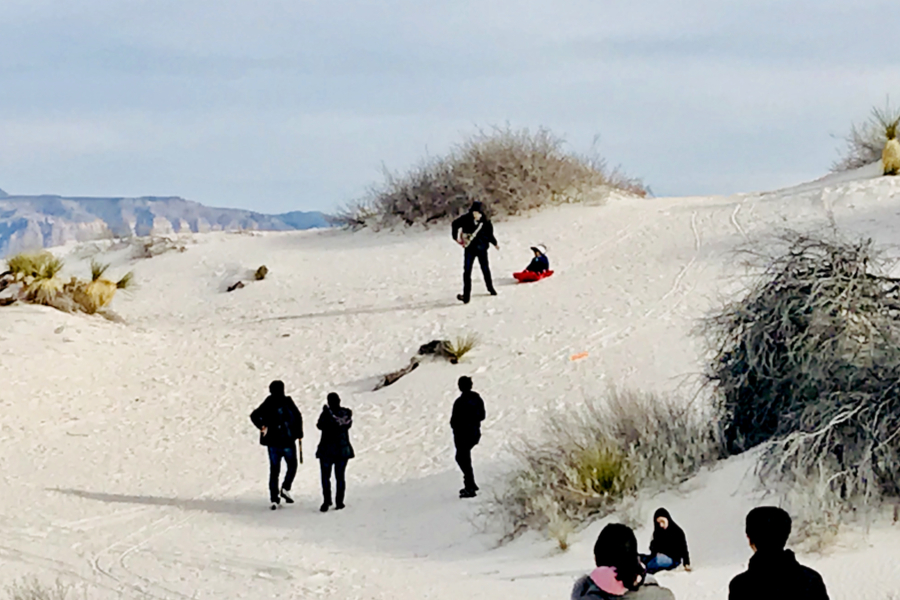 visitors at white sands national monument